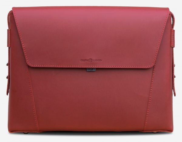 Front view of the slim red vegetable-tanned leather briefcase bag for women.