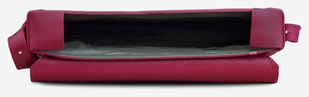 Inside view of the slim red vegetable-tanned leather briefcase bag for women.