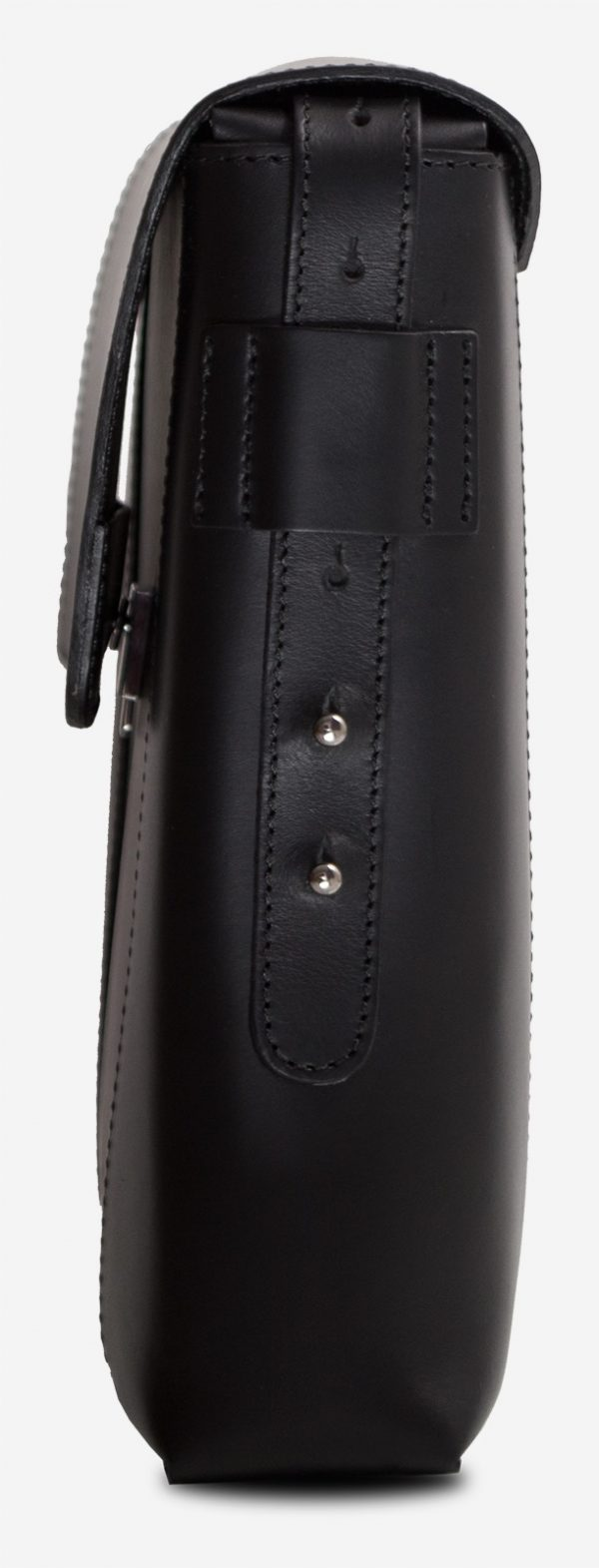 Side view of the slim vegetable-tanned black leather briefcase bag.