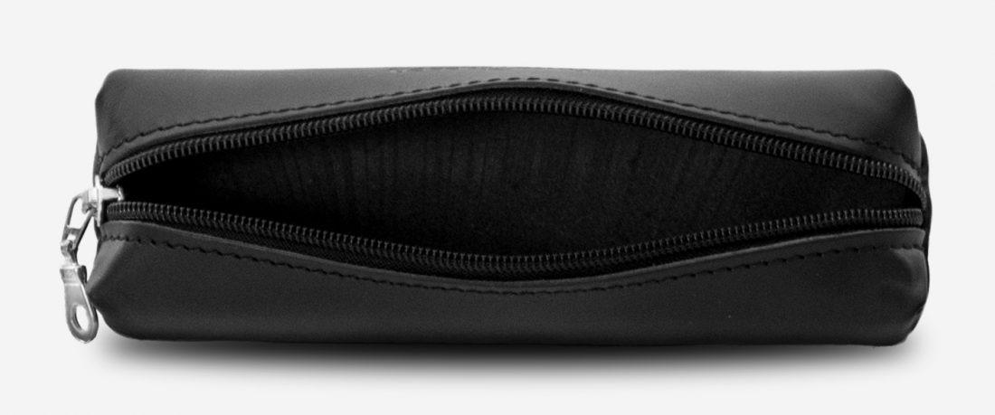 Open black leather pencil case 110006.