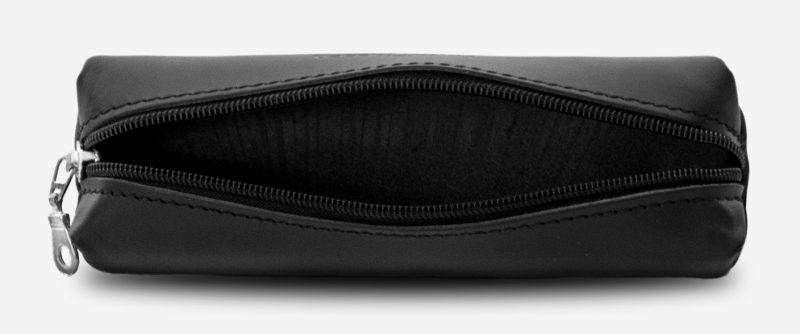 Open black leather pencil case 110006.