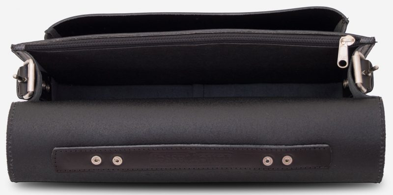 Inside view of black leather briefcase with one compartment 112103.