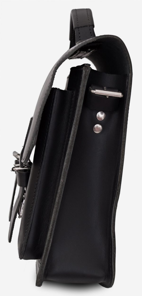 Side view of black leather satchel briefcase with front pockets 112131.