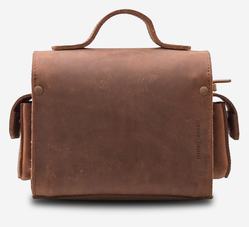 Back view of handmade brown leather camera bag 733104.