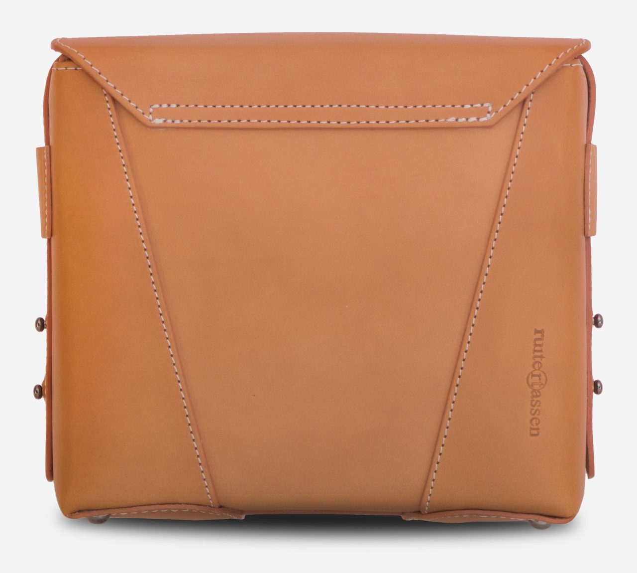 Back view of the small vegetable tanned leather crossbody bag.