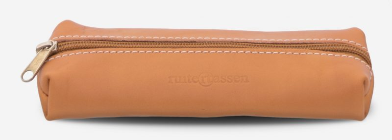 Front view of the tan leather pencil case.