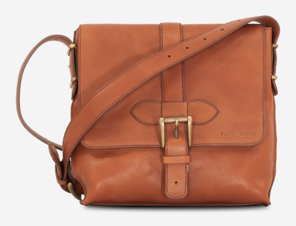 Front view of the luxury soft vegetable-tanned brown leather crossbody bag for men.