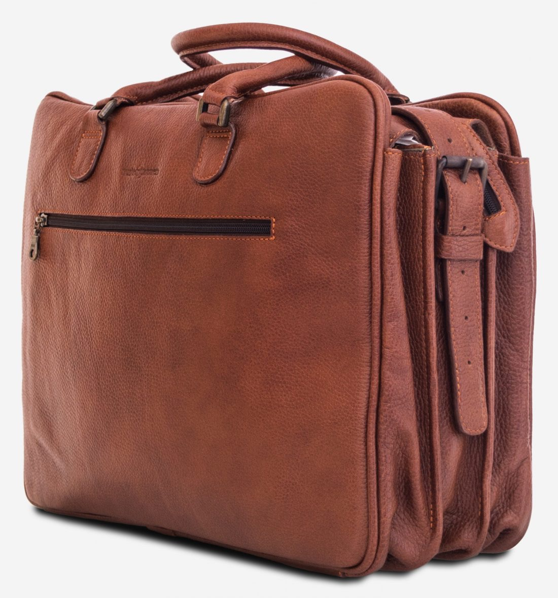 """Side view of the 17"""" brown soft leather travel bag."""