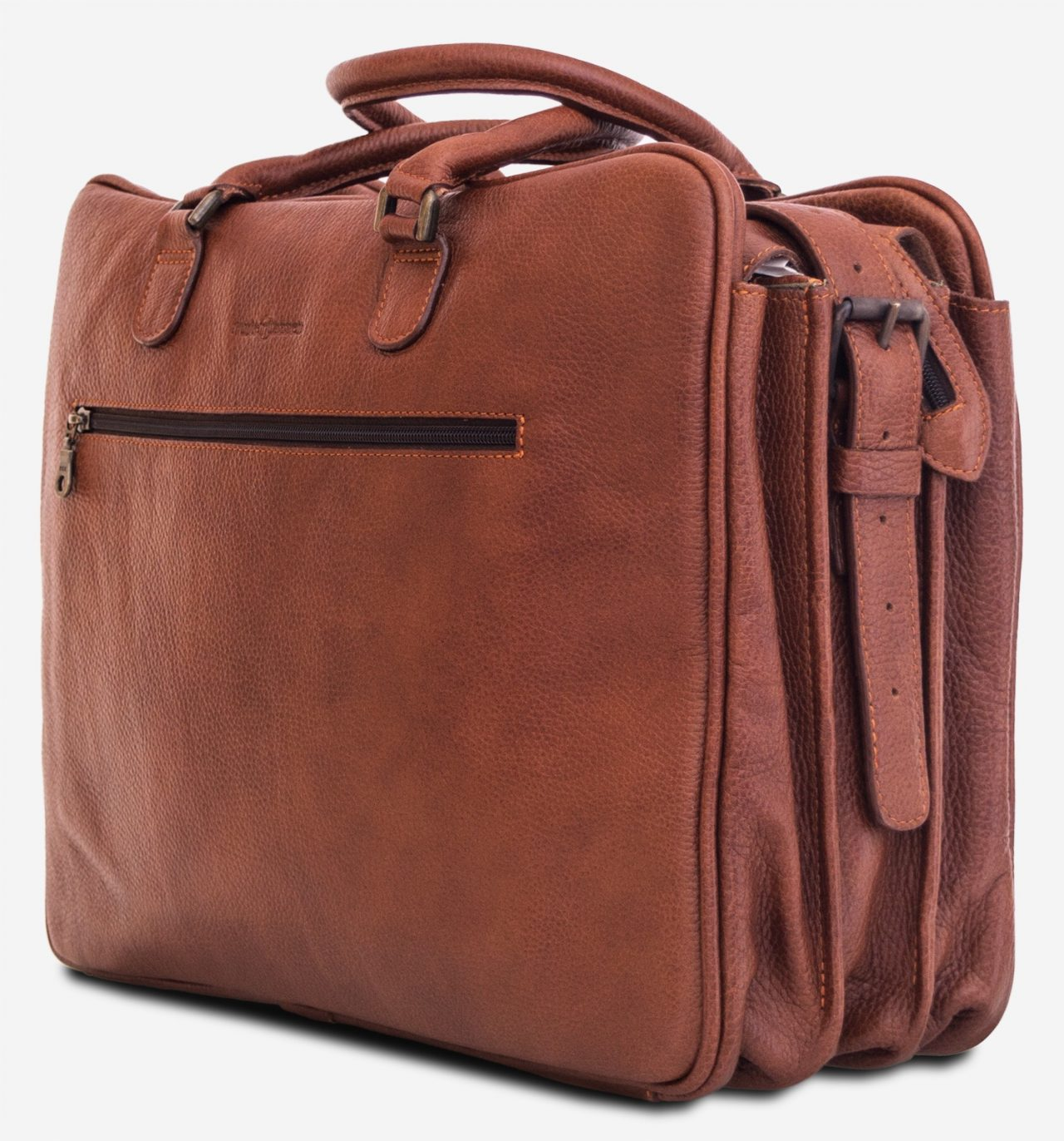 "Side view of the 17"" brown soft leather travel bag."