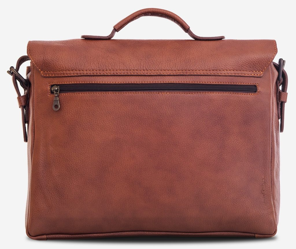 "Back view of the 13"" soft leather satchel briefcase with back pocket."