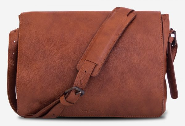 "Front view of the 13"" soft leather messenger bag with shoulder belt."