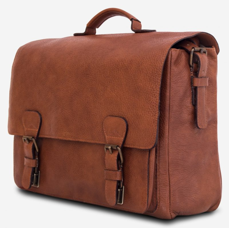 """Side view of the 15"""" soft brown leather satchel briefcase."""