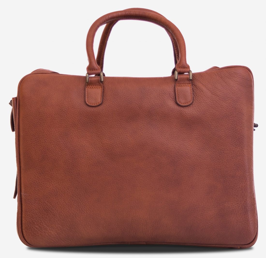 """Back view of the 17"""" brown soft leather travel bag."""