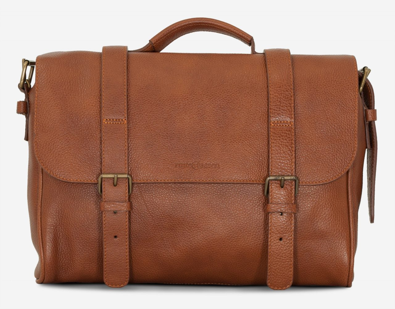 Front of the soft brown leather briefcase bag.
