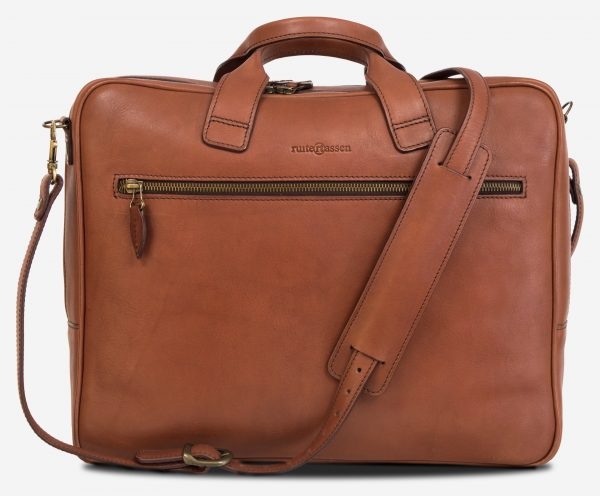 Front view of the luxury brown vegetable-tanned leather briefcase for men.
