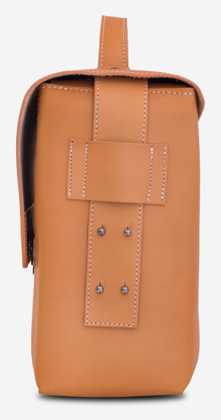 Side view of the large vegetable tanned leather briefcase bag with laptop pocket - 102178.