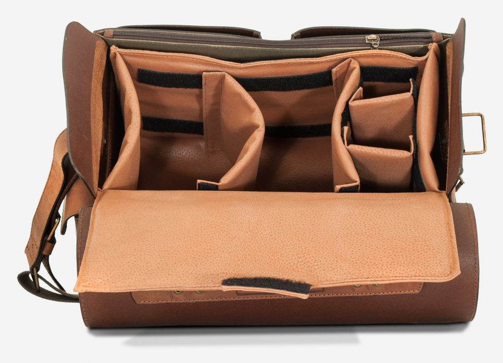 Top view of the large brown leather camera bag with separators.