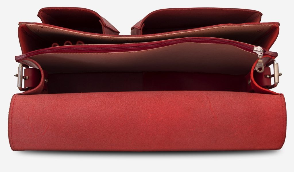 Inside view of large red leather messenger bag with 2 gussets and asymmetric front pockets for women - 152537.