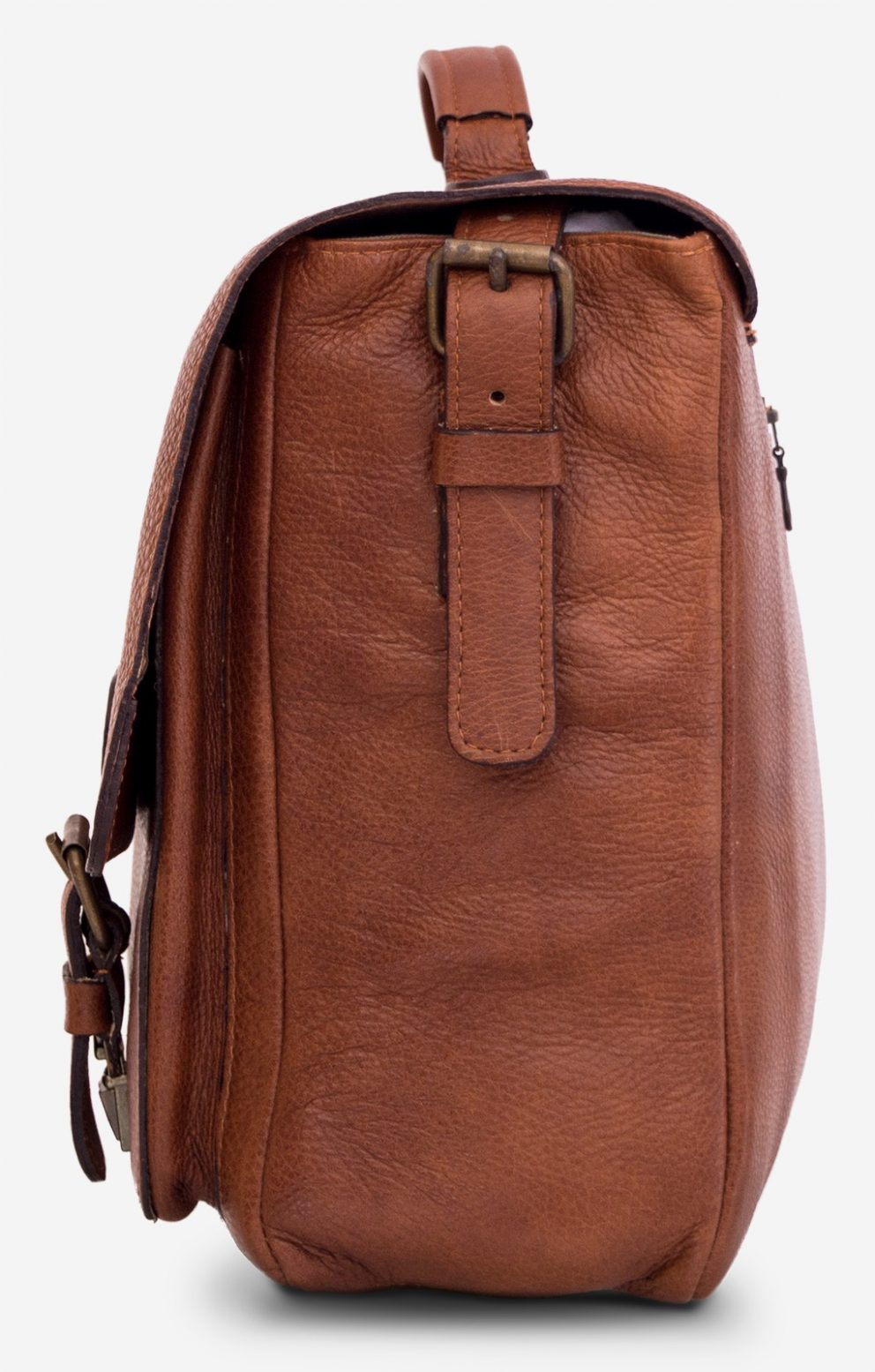 "Side of the 15"" soft brown leather satchel briefcase."