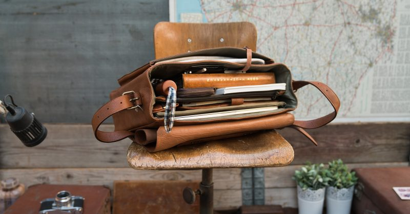 """Top view of the 15"""" soft brown leather satchel briefcase."""