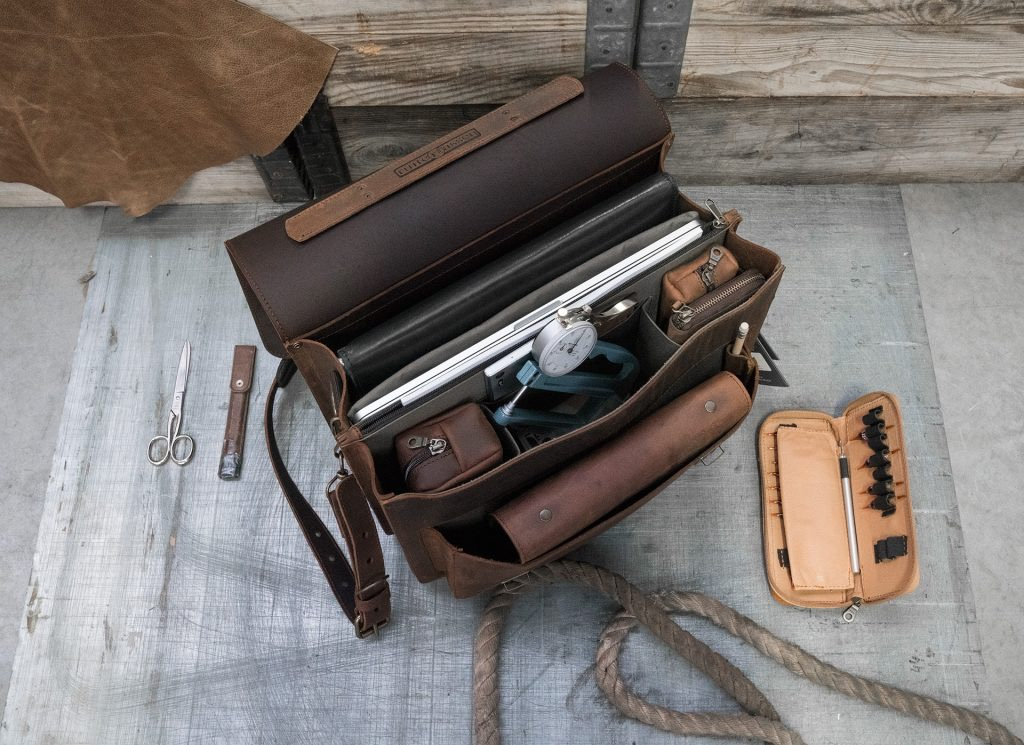 Top view of the vegetable-tanned brown leather satchel briefcase for doctors.