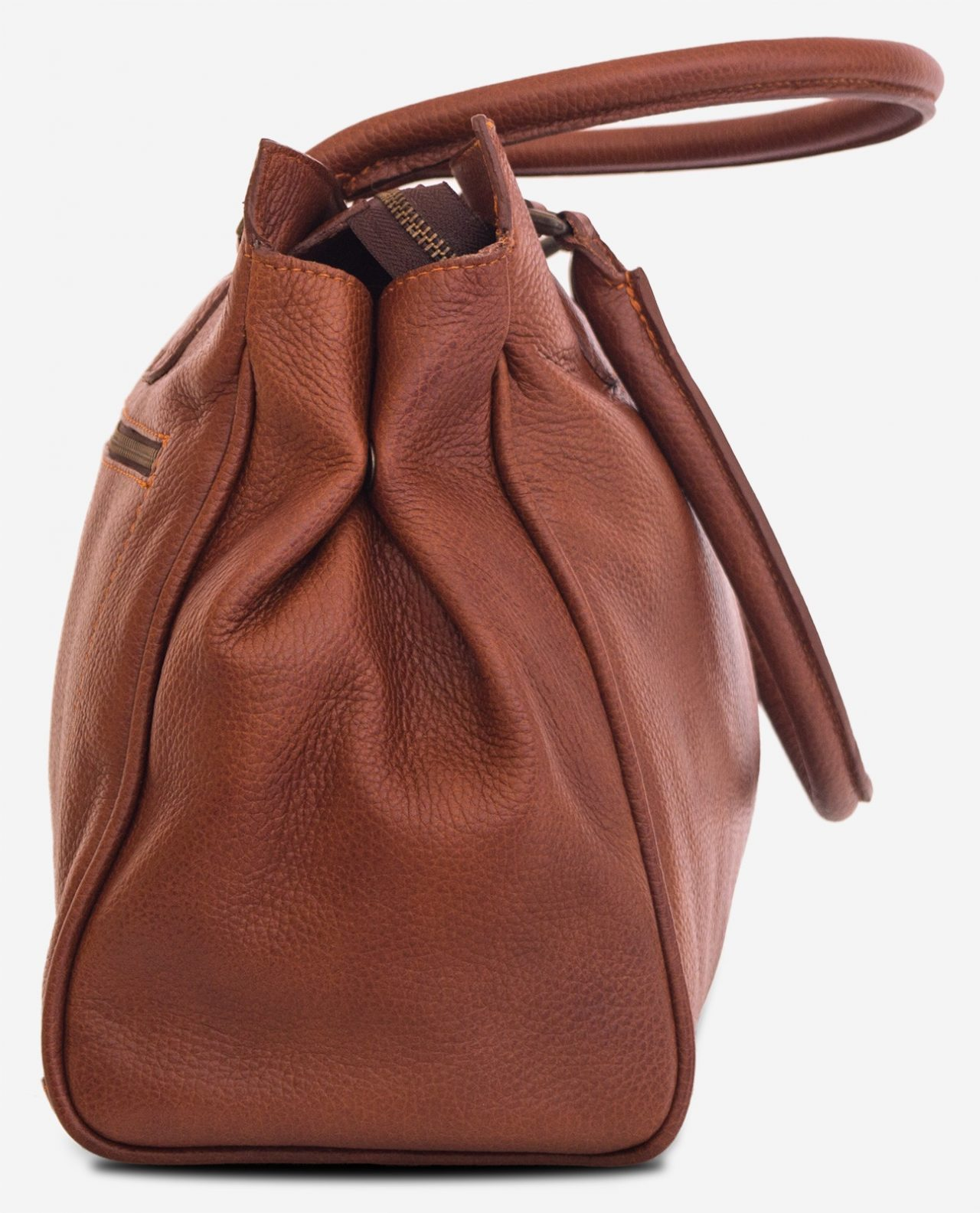 Side view of the woman soft leather handbag for student.