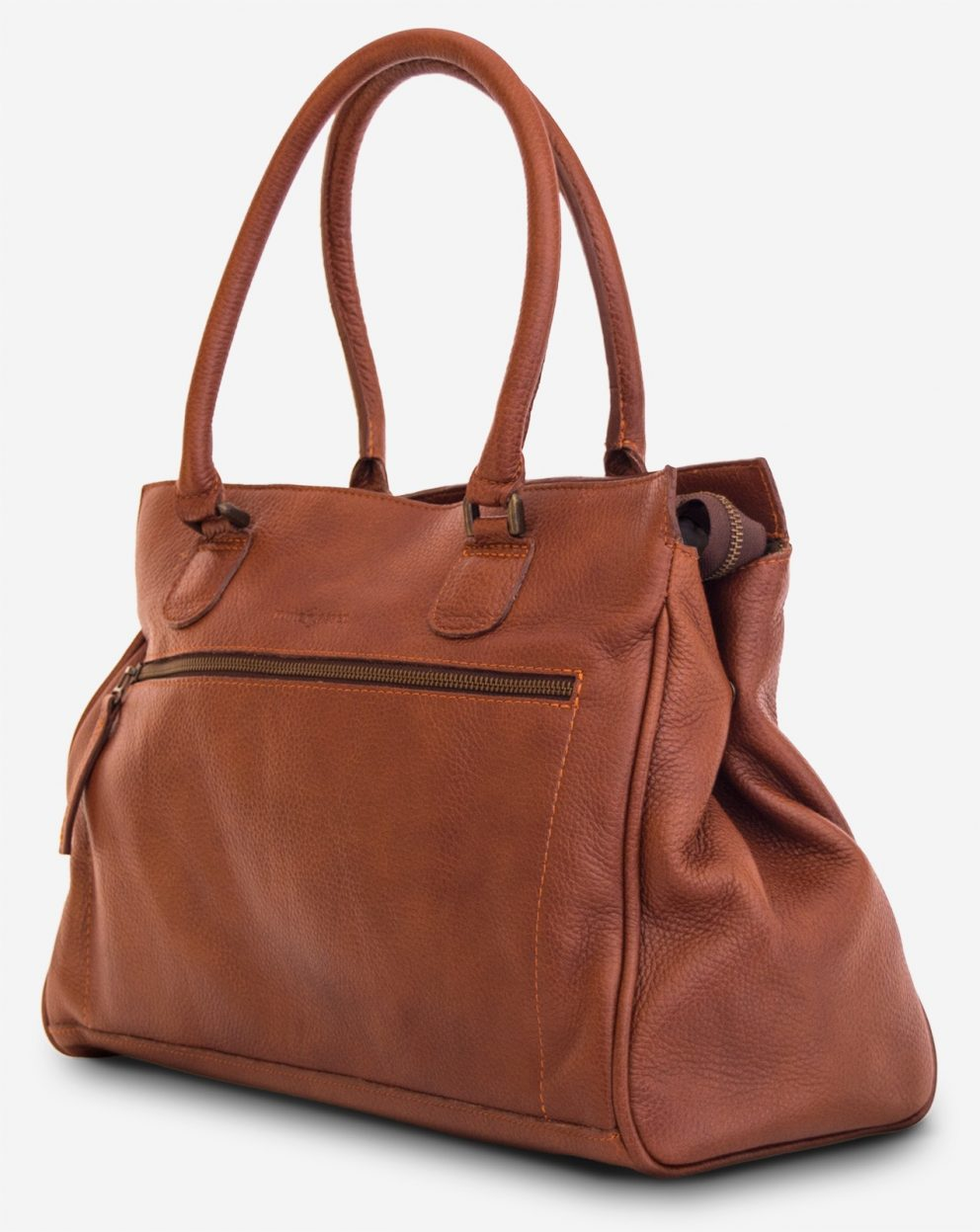 Side view of the woman soft leather handbag for school.