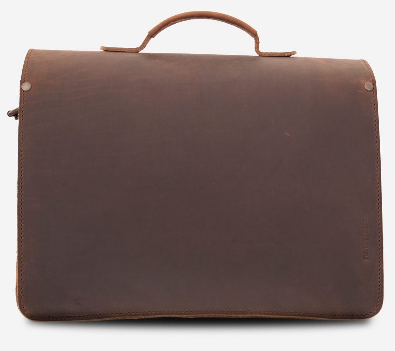 Back view of the Professor brown leather satchel with Ruitertassen logo.