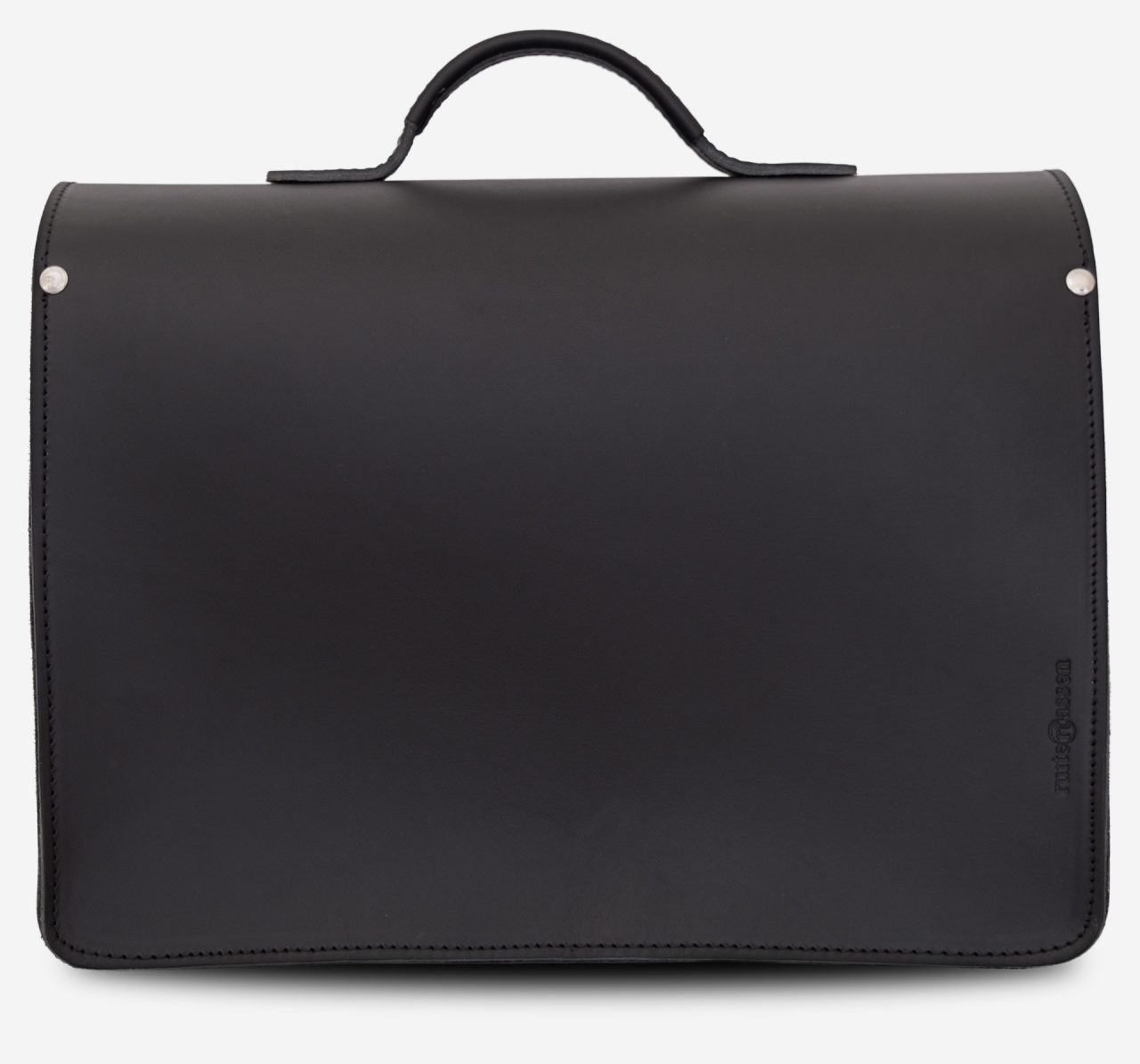 Back view of black leather laptop satchel bag with 2 gussets and asymmetric front pockets 112337.