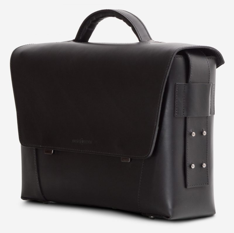 Side view of the black vegetable-tanned leather briefcase bag with laptop pocket.