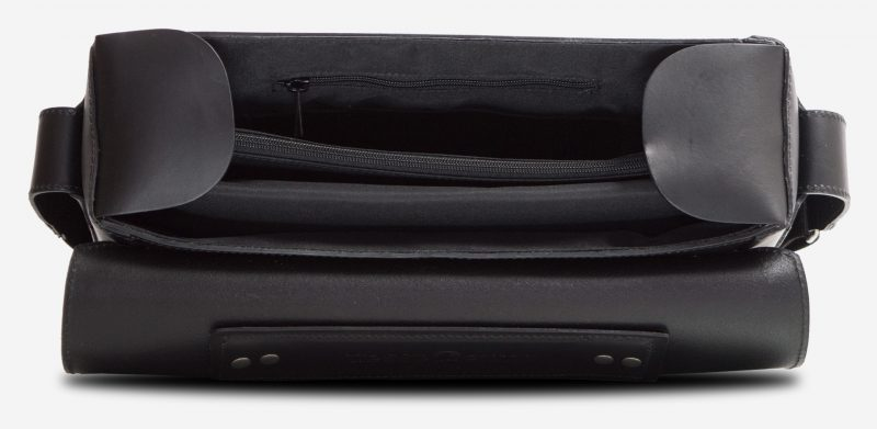 Inside view of the black vegetable-tanned leather briefcase bag with laptop pocket.