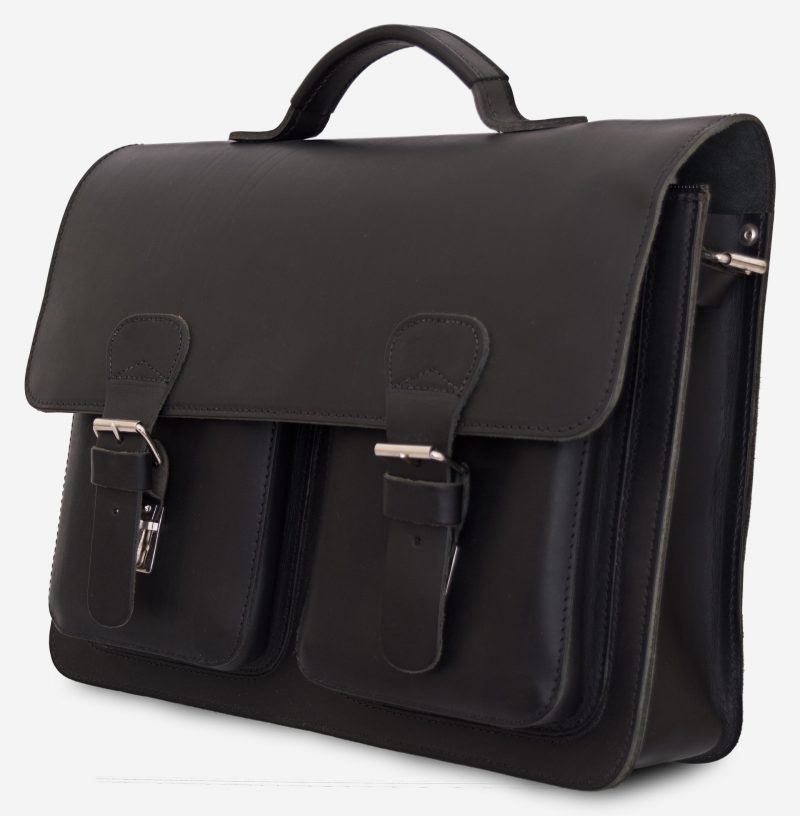 Front view of black leather satchel briefcase with front pockets 112131.