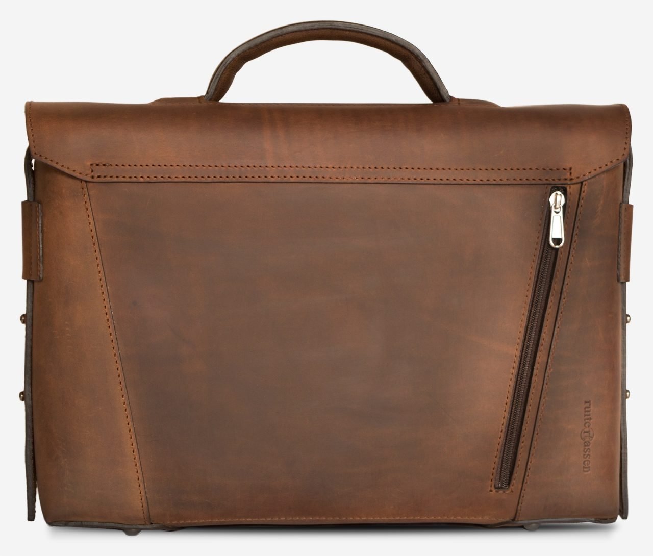 Back view of the vegetable-tanned brown leather briefcase bag with back pocket.