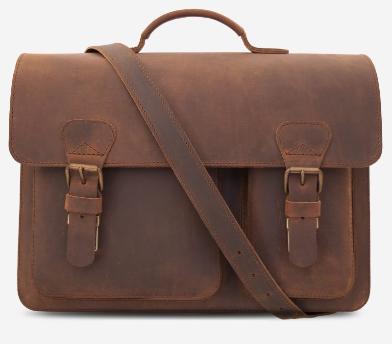 Front view of the brown leather satchel with leather shoulder strap