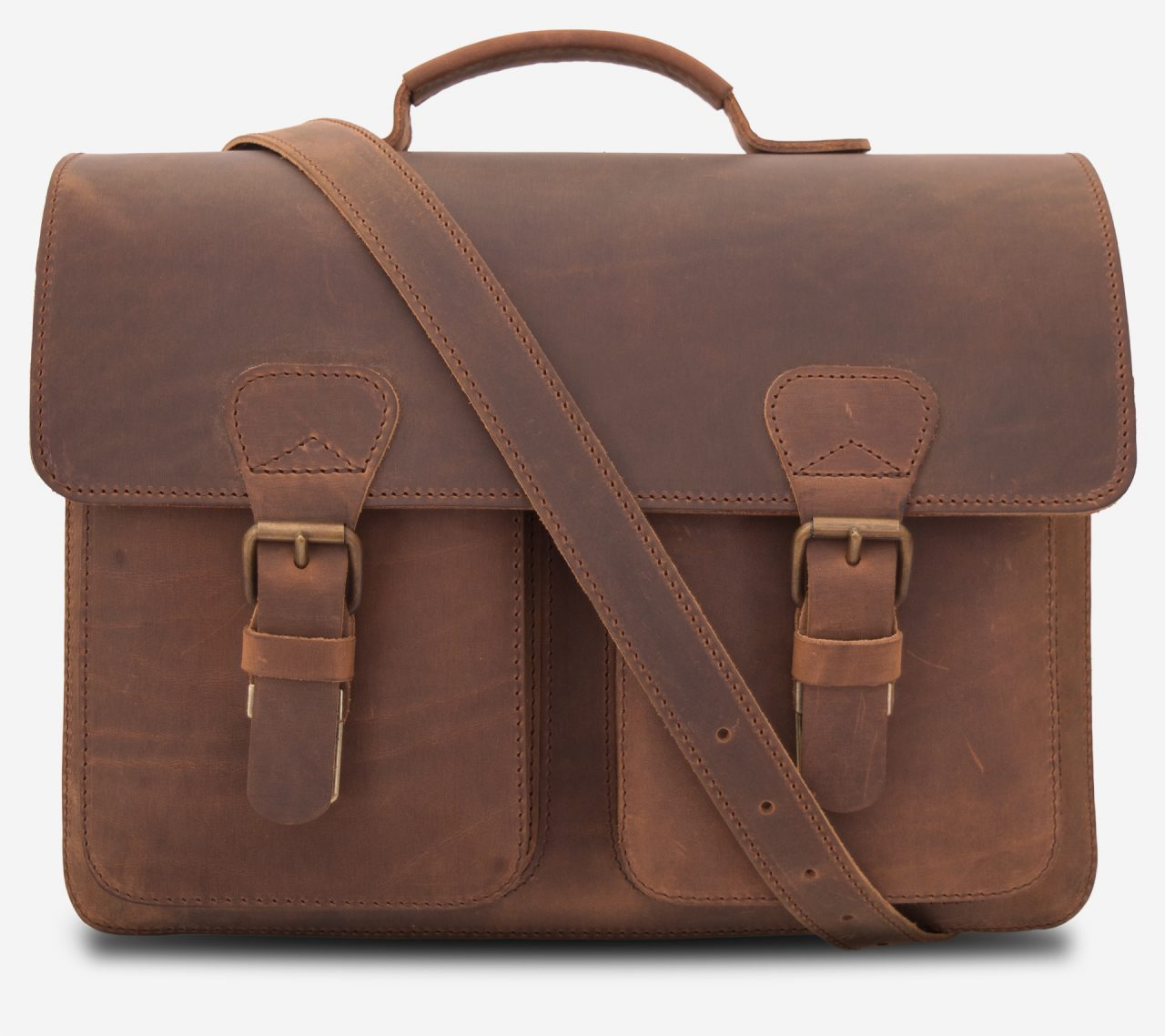 Front view of the 3 compartments Professor brown leather satchel with a leather shoulder strap.