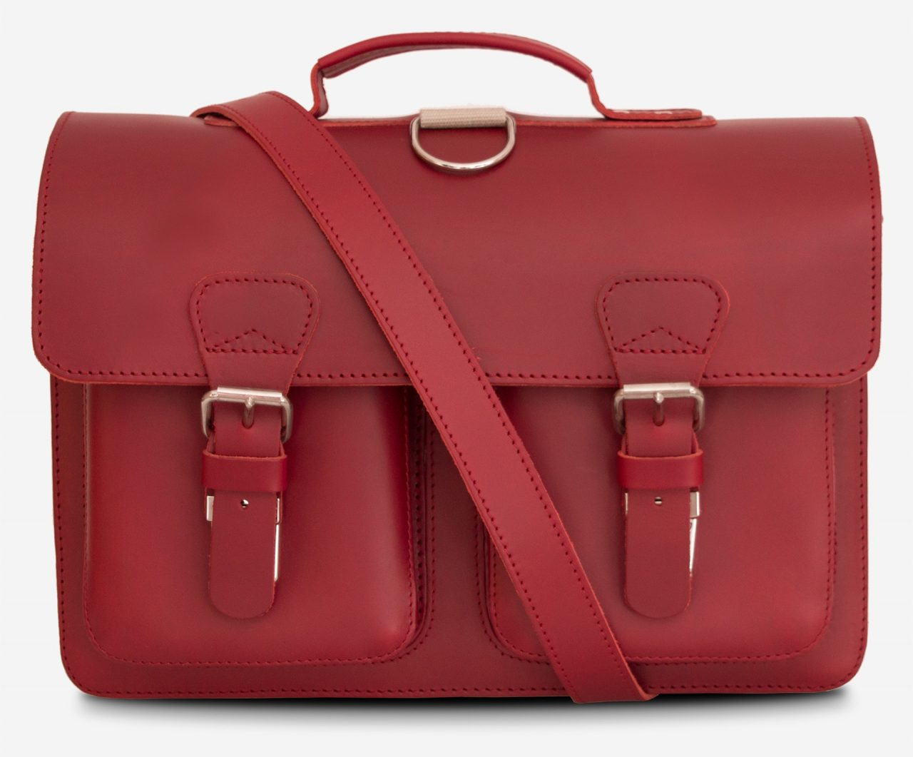Front view of red leather satchel backpack with 2 gussets and symmetric front pockets for women - 152233.
