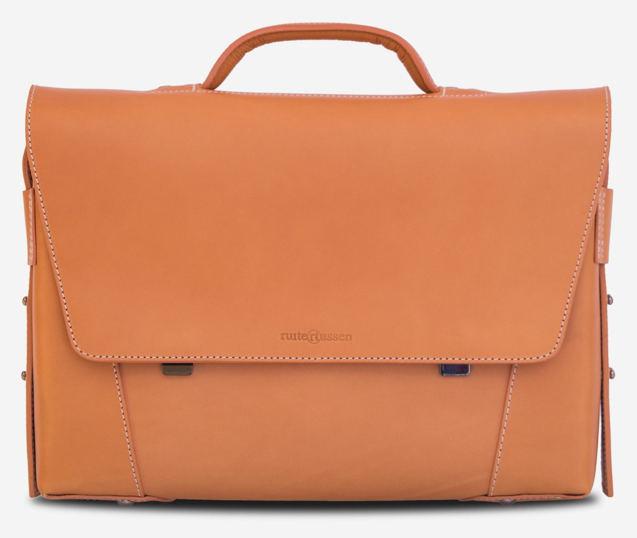 Front view of the vegetable tanned leather briefcase bag with laptop pocket - 102177.
