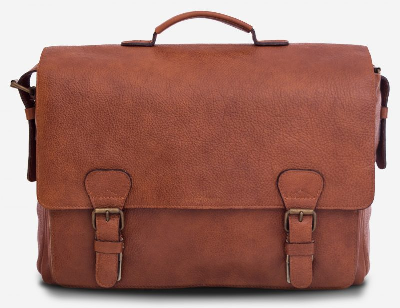 """Front view of the 15"""" soft brown leather satchel briefcase."""