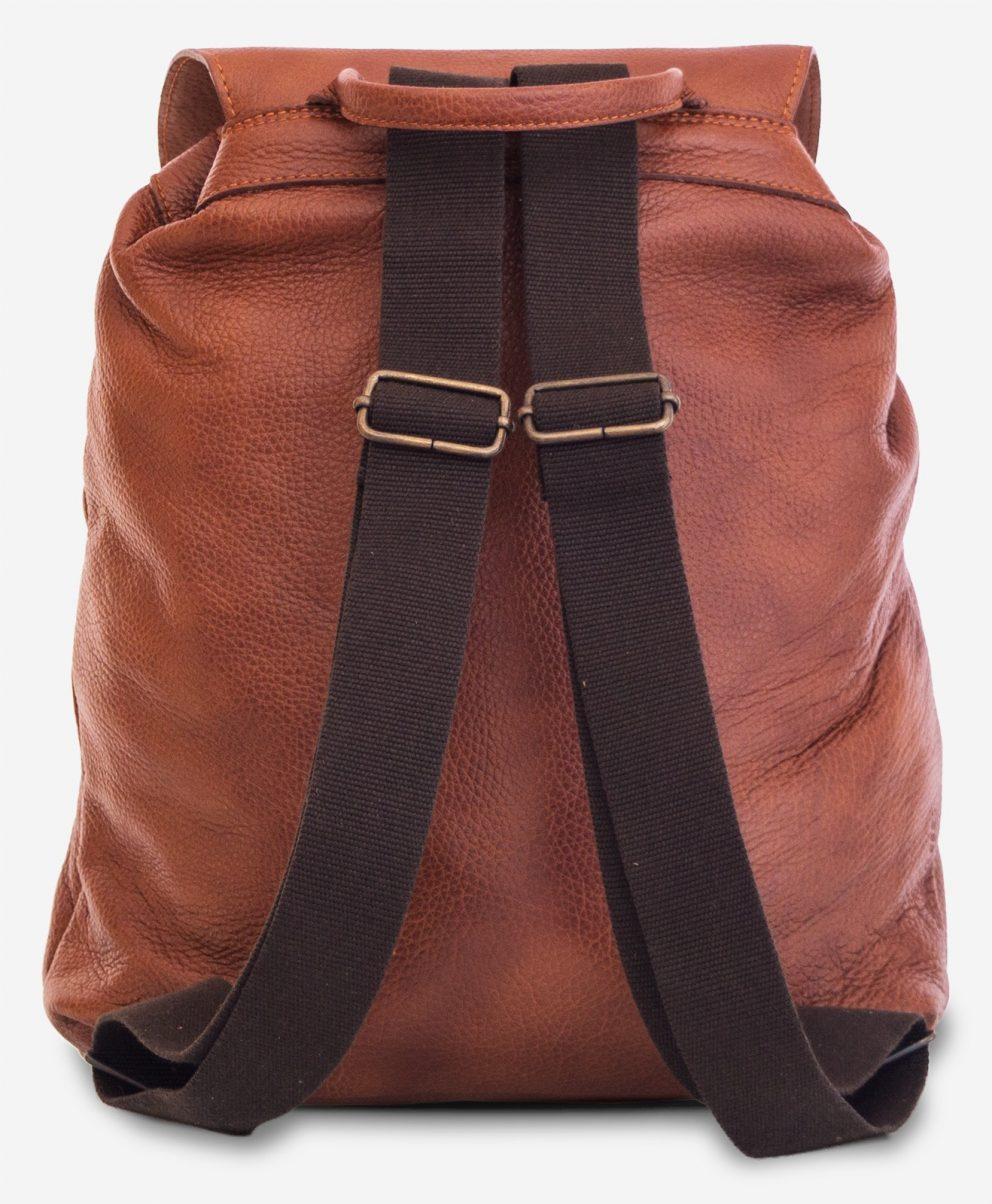 Back of the elegant brown soft leather backpack.