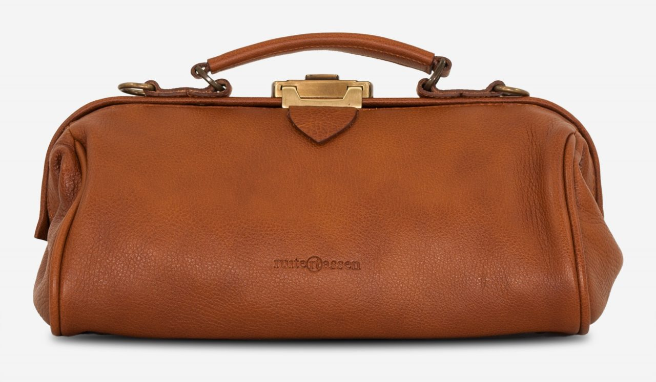 Front view of the soft brown leather doctor bag for women.