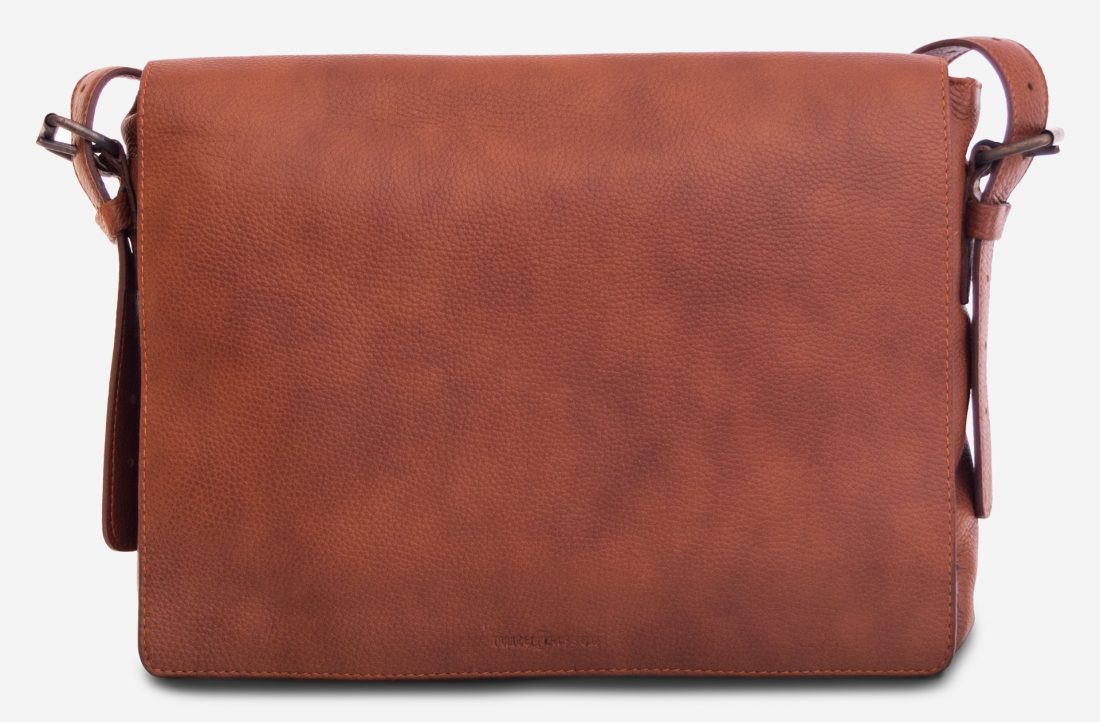 "Front view of the 13"" soft leather messenger bag."