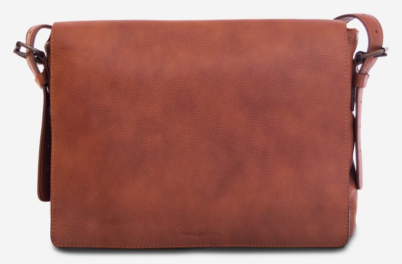 """Front view of the 13"""" soft leather messenger bag."""