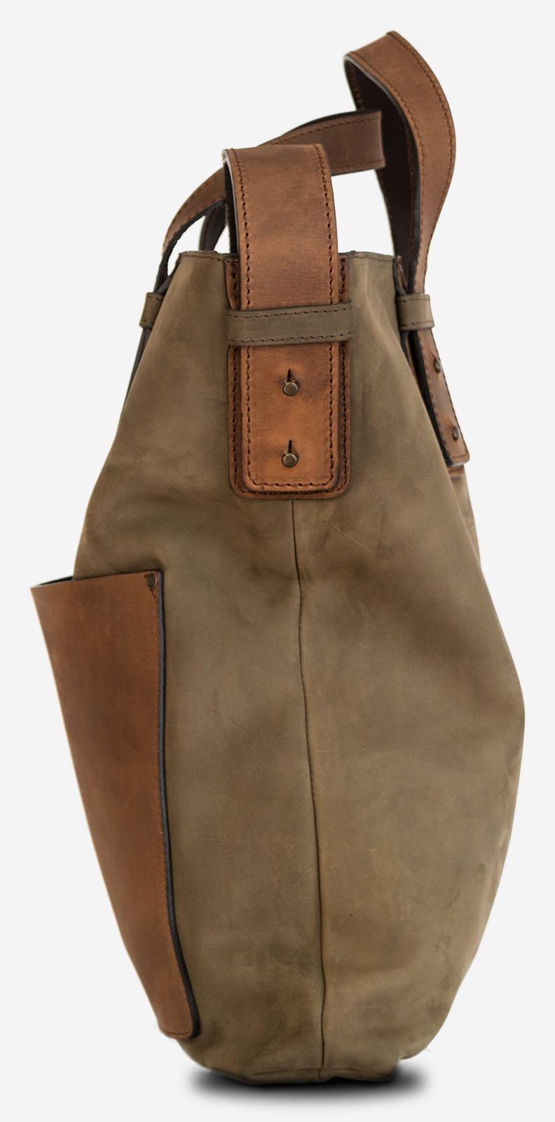 Side of the handmade leather handbag for men.