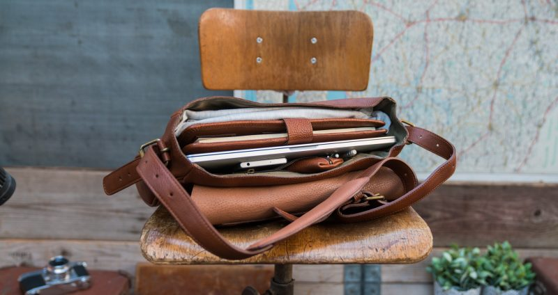 Top view of the soft brown leather briefcase bag.