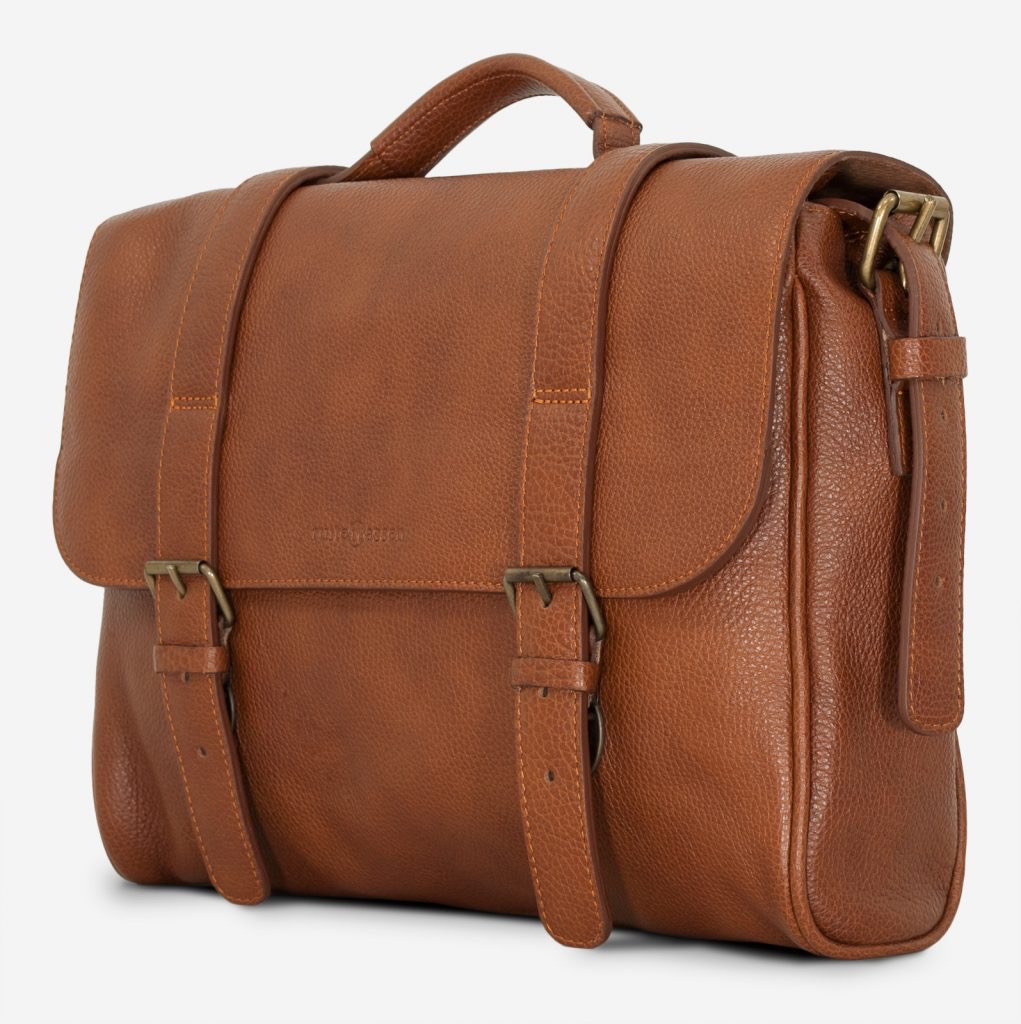 Side view of the soft brown leather briefcase bag.