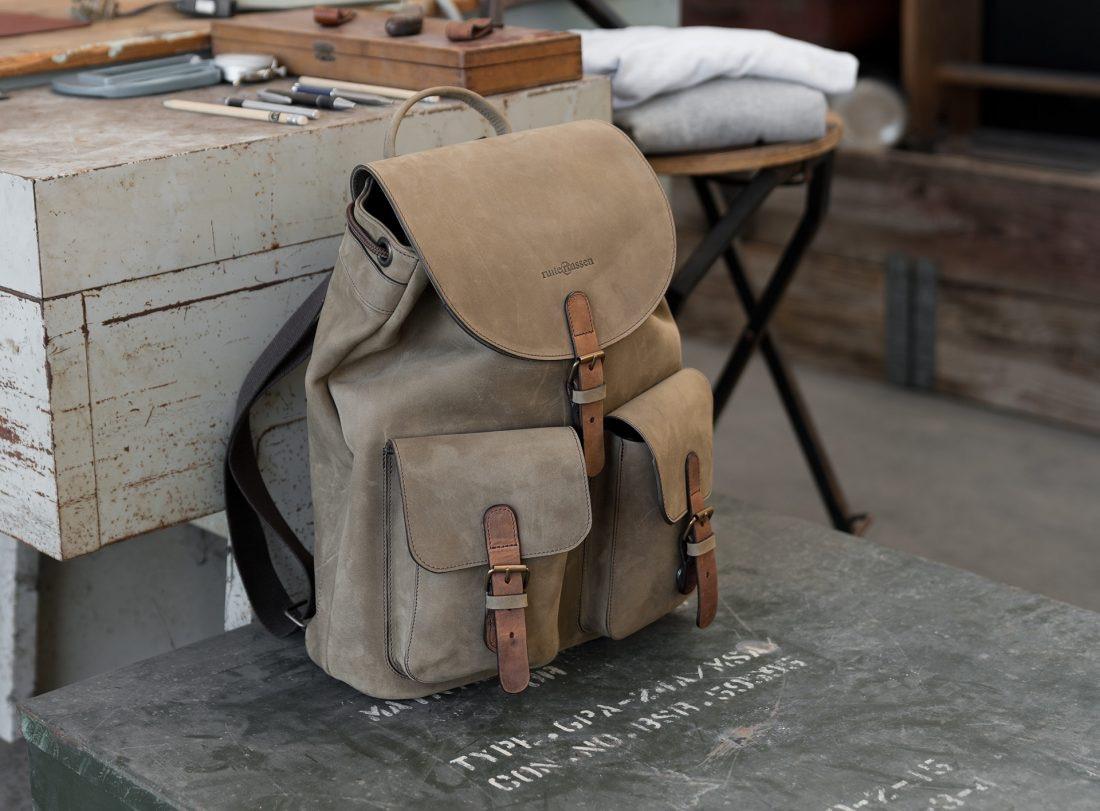 Handmade soft leather backpack.