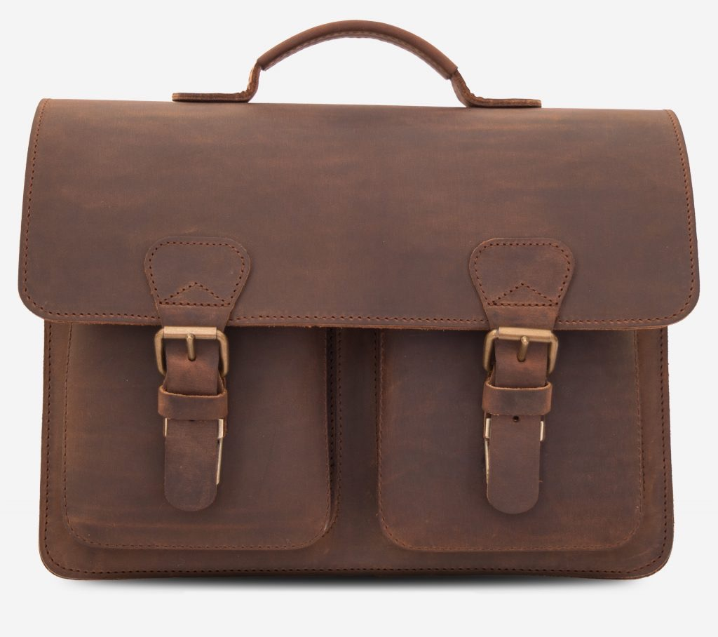 Front view of the brown leather satchel briefcase 732131.