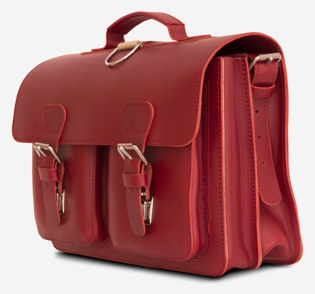 Side view of red leather satchel backpack with 2 gussets and symmetric front pockets for women - 152233.