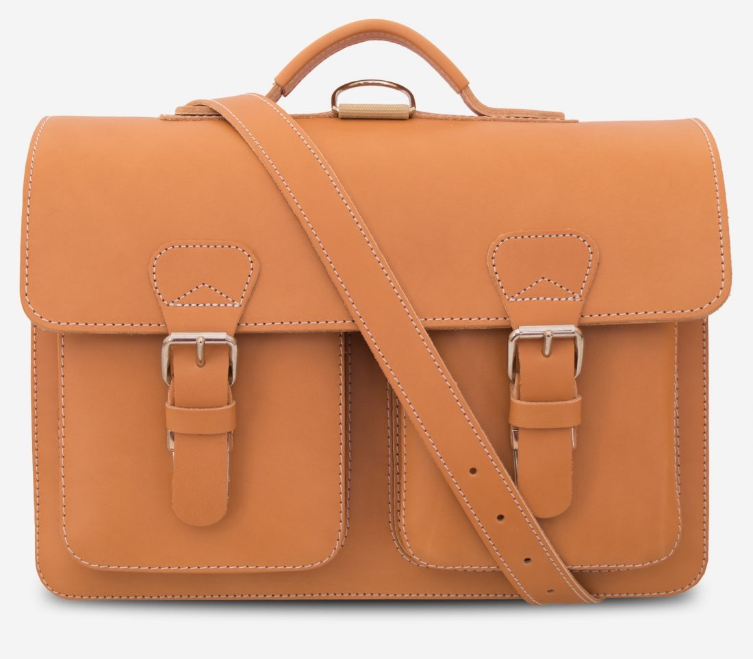 Front view of Professor tan leather satchel backpack with shoulder strap.