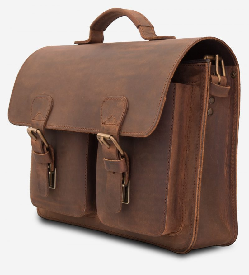 Brown leather satchel briefcase with one main compartment and two front pockets.